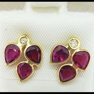 14K Gold Genuine Burmese Rubies Diamond earring